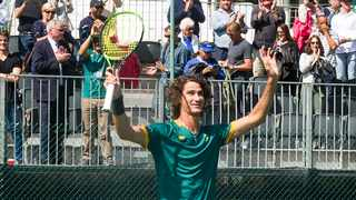 Lloyd Harris celebrating at the end of his Davis Cup win. Photo: Peter Heeger
