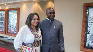 Public Works Minister Patricia de Lille with eThekwini mayor Mxolisi Kaunda at the Global Parliament of Mayors Annual Summit in Durban on Sunday. Photo: Supplied