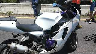 A man and a woman died when the motorcycle they were riding veered out of control and crashed into safety barriers alongside the road in Durban. Picture: Netcare 911