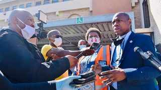 Minister of Health Dr Zweli Mkhize addresses journalists at the South End fire station in Port Elizabeth. Picture: Supplied/Eastern Cape Department of Health