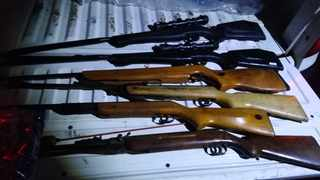Stolen firearms recovered after an alleged farm attacker was arrested in the North West this past week. Photo: SAPS