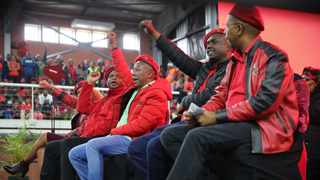 EFF President Julius Malema addressing the EFF supporters when observing the Woman's day celebration at Caluza sports ground in Pietermaritzburg. Picture: Motshwari Mofokeng/African News Agency (ANA)