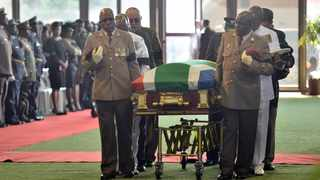 Pall-bearers carrying the late Environmental Affairs  Minister Edna Molewa's coffin during her official funeral service held at Tshwane Events Centre in Pretoria. Picture: Oupa Mokoena/African News Agency (ANA)