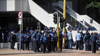 Bus drivers and other staff employed by the MyCiti bus vehicle operating companies have embarked on an illegal strike at the Civic Centre. Picture: Armand Hough / African News Agency (ANA)