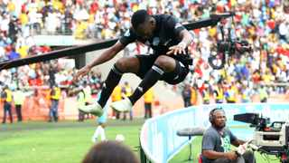 Justin Shonga will be out to celebrate like he did against Kaizer Chiefs once more for Orlando Pirates in their Caf Champions League game on Wednesday. Photo: Bongani Mbatha/African News Agency/ANA