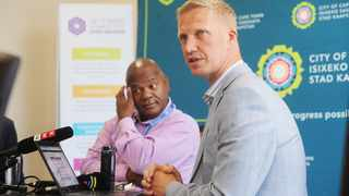 Executive Mayor of Cape Town Dan Plato and Mayoral Committee Member, Alderman JP Smith, announce details relating to significant budget adjustments for the Safety and Security Directorate. Picture: Courtney Africa/African News Agency (ANA)