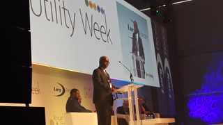 Phakamani Hadebe, interim group CEO of SA power utility Eskom gives the welcome address on day one of African Utility Week at the Cape Town International Convention Centre. PHOTO: Ayanda Ndamane / ANA