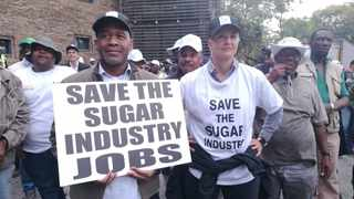Thousands of farmers, workers and labour representatives marched in Pretoria on Tuesday, demanding that the South African government increased import tariffs on sugar to protect the local industry. PHOTO: ANA Reporter