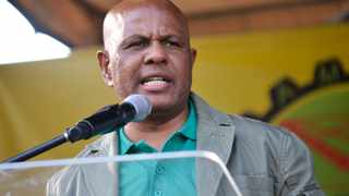 Amcu president Joseph Mathunjwa addressing the crowd at the Marikana massacre memorial on Thursday.PHOTO: Mathaeo Lonkokile
