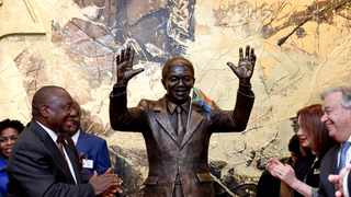 President Cyril Ramaphosa at the unveiling of the Nelson Mandela Statue at the United Nations Headquarters in New York. Picture: Yandisa Monakali/Dirco News Service