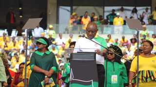 President Cyril Ramaphosa reads the party's January 8 statement at Moses Mabhida Stadium in Durban on Saturday. Photo supplied.