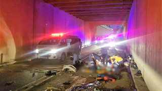 One person was killed and four others were critically injured when they were hit by a vehicle while apparently sleeping under a bridge in Pinetown, Durban just after 4.15am on Saturday morning. Photo: Rescue Care