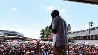 EFF leader Julius Malema addresses supporters outside the Newcastle Magistrate's Court on Monday. Picture: Supplied.
