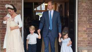 Britain's Prince William and Catherine, the Duchess of Cambridge, leave the chapel with their children Prince George, Princess Charlotte and Prince Louis after Prince Louis's christening in the Chapel Royal, St James's Palace, London Picture: Reuters