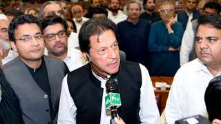 New Pakistan Prime Minister Imran Khan speaks at the National Assembly in Islamabad on Friday. Photo: National Assembly via AP