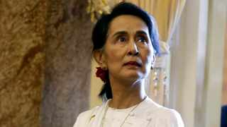Myanmar's State Counsellor Suu Kyi is seen while she waits for a meeting with Vietnam's President Quang in Hanoi. Picture: Kham/Reuters
