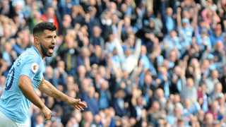 Manchester City's Sergio Aguero celebrates after scoring his side's opening goal against Burnley. Photo: Rui Vieira/AP