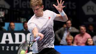 Kevin Anderson lets rip with a forehand against Fernando Verdasco in their semi-final in Vienna on Saturday. Photo: Ronald Zak/AP