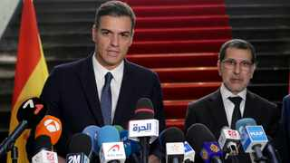 Morocco Prime Minister Saad Eddine el-Othmani, right, and Spanish counterpart Pedro Sanchez held a joint press conference in Rabat on Monday. Photo: AP