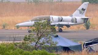 This photo released by Conflict Armament Research is said by them to show an L-39 jet trainer/ground attack aircraft at the international airport in Juba, South Sudan. Picture: Conflict Armament Research via AP