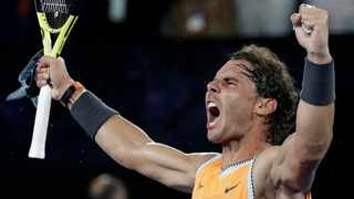 Rafael Nadal has not dropped his serve for an astonishing 63 straight games and has not lost a set at the Australian Open this year. Photo: Aaron Favila/AP