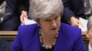 Britain's Prime Minister Theresa May speaks during Prime Minister's Questions in the House of Commons in London. Picture: PA via AP