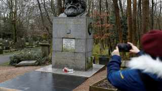 A memorial to German philosopher Karl Marx is seen at Highgate Cemetery in north London. Picture: Peter Nicholls/Reuters