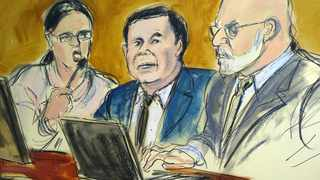 """In this courtroom drawing, Joaquin """"El Chapo"""" Guzman, center, sits at the defense table while listening to Judge Brian Cogan addressing the jury, Thursday, Feb. 7, 2019, during Guzman's drug trafficking trial in New York. File photo: Elizabeth Williams via AP."""