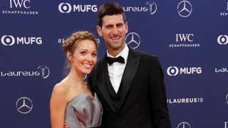 Novak Djokovic poses with Jelena Dokovic as they arrive at the Laureus World Sports Awards in Monaco on Monday night. Photo: Eric Gaillard/Reuters