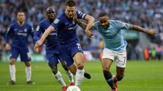 Manchester City's Raheem Sterling, right, duels for the ball with Chelsea's Cesar Azpilicueta during the English League Cup final soccer match at Wembley stadium in London on Sunday, Photo: Tim Ireland/AP