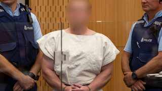 Brenton Tarrant, charged for murder in relation to the mosque attacks, is seen in the dock during his appearance in the Christchurch District Court. Picture: Mark Mitchell/New Zealand Herald/Pool via REUTERS (SUSPECT FACE MUST BE PIXELATED)