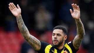 Andre Gray celebrates at the end of the match. he scored the winner taking his team to the semi-finals. Photo: David Klein/Reuters