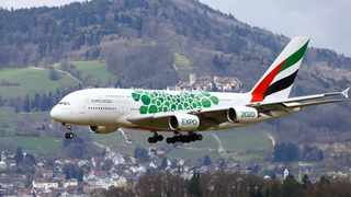 File photo: An Airbus A389-381 of Emirates Airlines comes in to land at Zurich Airport with the town of Dielsdorf, Switzerland in the background. Picture: Reuters