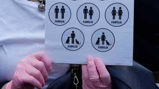 A woman holds a sign representing different kind of families during a march to protest the World Congress of Families, in Verona, Italy. File picture: Antonio Calanni/AP