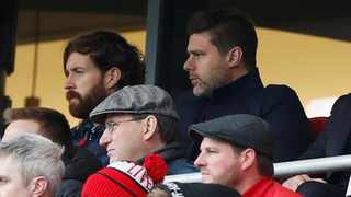 Tottenham Hotspur manager Mauricio Pochettino had to watch the Liverpool match from the stands on Sunday due to a touchline ban. Photo: Paul Childs/Action Images via Reuters