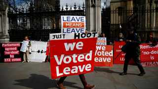 A pro-Brexit protester demonstrates outside the Houses of Parliament, as Brexit wrangles continue. File photo: REUTERS/Henry Nicholls