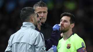 """He's fine, but it was a big hit,"" said Ernesto Valverde about Lionel Messi's collision with Chris Smalling. Photo: Lee Smith/Action Images via Reuters"