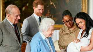 In this image made available by SussexRoyal, Britain's Prince Harry and Meghan, Duchess of Sussex, joined by her mother Doria Ragland, show their new son to Queen Elizabeth II and Prince Philip at Windsor Castle. Picture: AP