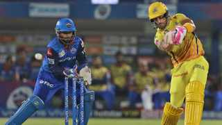 Faf du Plessis hits out during his innings of 50 off 39 balls for the Chennai Super Kings against the Delhi Capitals on Friday. Photo: Surjeet Yadav/AP