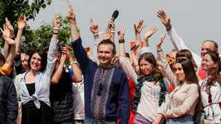 Ukrainian musician and frontman of a popular rock band Okean Elzy, Sviatoslav Vakarchuk, announces the launch of his political party in Kiev. Picture: Reuters/Gleb Garanich