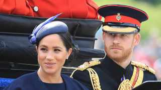 Britain's Prince Harry and Meghan Duchess of Sussex attend the annual Trooping the Colour Ceremony in London. (Gareth Fuller/PA via AP)