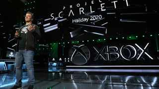 """Microsoft Corp unveiled its next-generation Xbox console, known as """"Project Scarlett,"""" which is set to hit store shelves during the 2020 holiday season.  (Photo by Casey Rodgers/Invision for Xbox/AP Images)"""