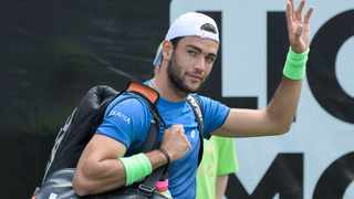 Italy's Matteo Berrettini waves as he arrives the court for his final match against Canada's Felix Auger-Aliassime at the ATP Tennis tournament in Stuttgart on Sunday. Photo: Silas Stein/AP