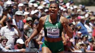 Nigeria's Blessing Okagbare reacts after winning the women's 200-meter race during the Prefontaine Classic, an IAAF Diamond League athletics meeting in June. Photo: Jeff Chiu/AP