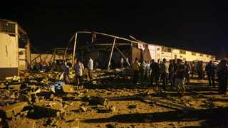 An airstrike hit the detention centre for migrants in the Libyan capital, killing around three dozen people. Picture: Hazem Ahmed/AP