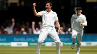 Tim Murtagh celebrates taking the wicket of England's Chris Woakes. Photo: Andrew Boyers/Reuters