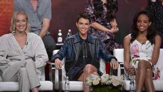 """Rachel Skarsten, from left, Ruby Rose and Meagan Tandy participate in The CW """"Batwoman"""" panel during the Summer 2019 Television Critics Association Press Tour at the Beverly Hilton Hotel on Sunday, Aug. 4, 2019, in Beverly Hills, Calif. Picture: Richard Shotwell/Invision/AP"""