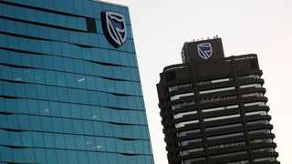 FILE PHOTO: The logo of South Africa's Standard Bank at its Cape Town headquarters