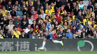 Brighton and Hove Albion's Florin Andone celebrates scoring his side's second goal of the game during the English Premier League soccer match between Watford and Brighton and Hove Albion at Vicarage Road stadium, Watford, England. Saturday Aug, 10, 2019 (Nick Potts/PA via AP)