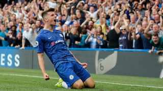 Chelsea's Mason Mount celebrates after scoring the opening goal during their English Premier League soccer match against Leicester City at Stamford Bridge in London on Sunday. Photo: Frank Augstein/AP